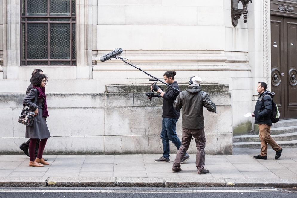 Film makers on a London street.