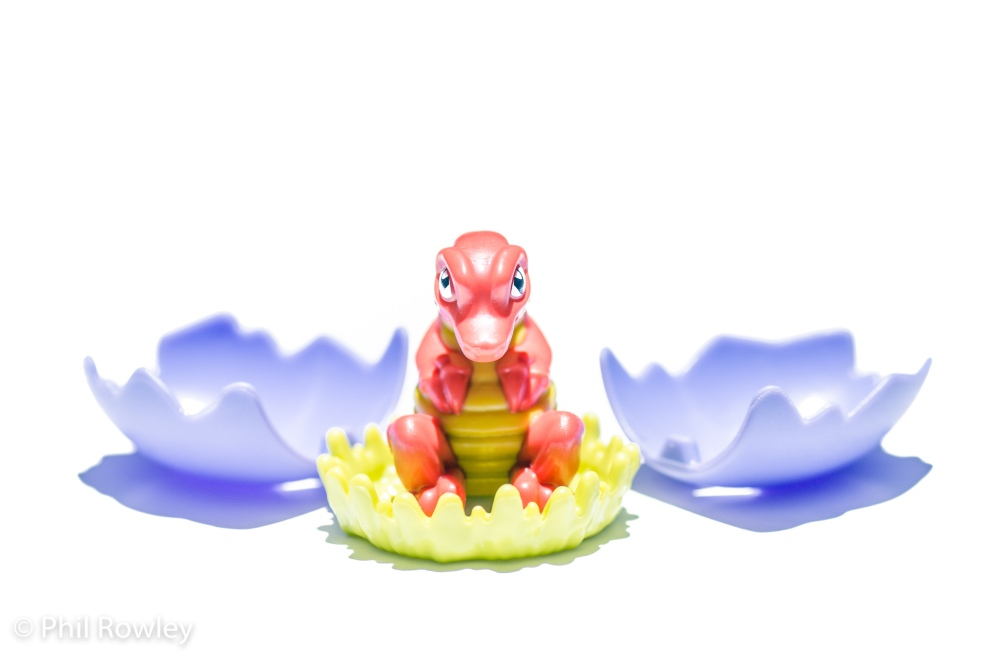 Kinder Egg toy dragon, taken with flash and snoot