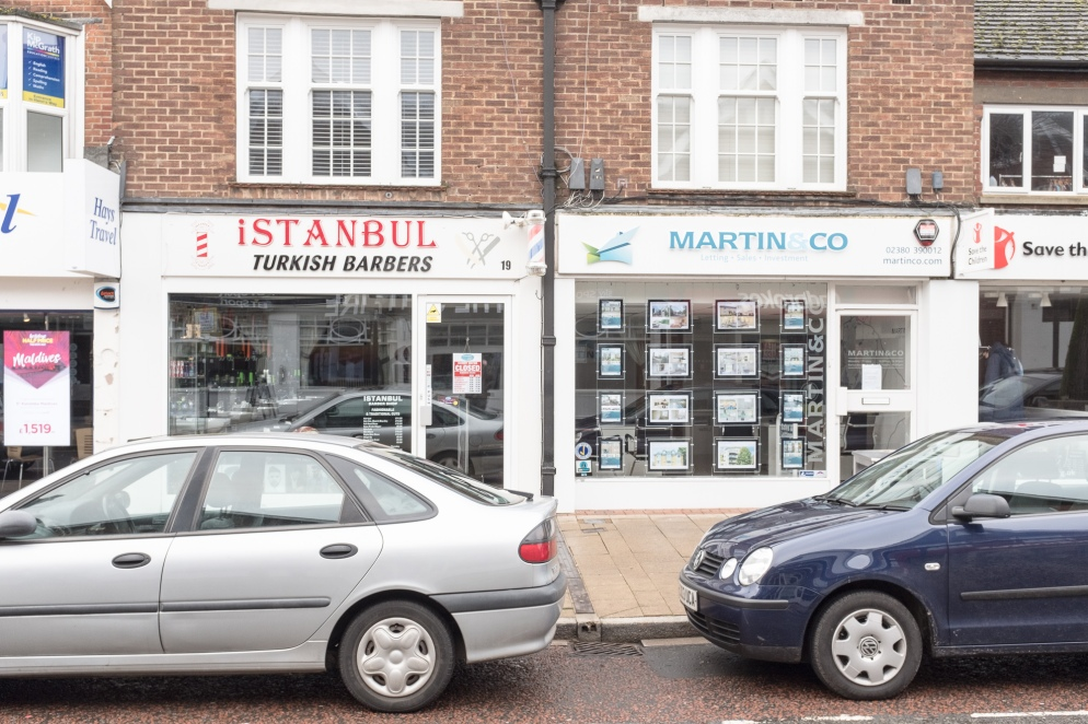 Barber's and Estate Agents in Eastleigh, Hampshire, UK
