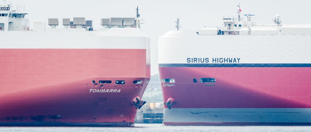 Tombarra and Sirius Highway pass on Southampton Water, United Kingdom
