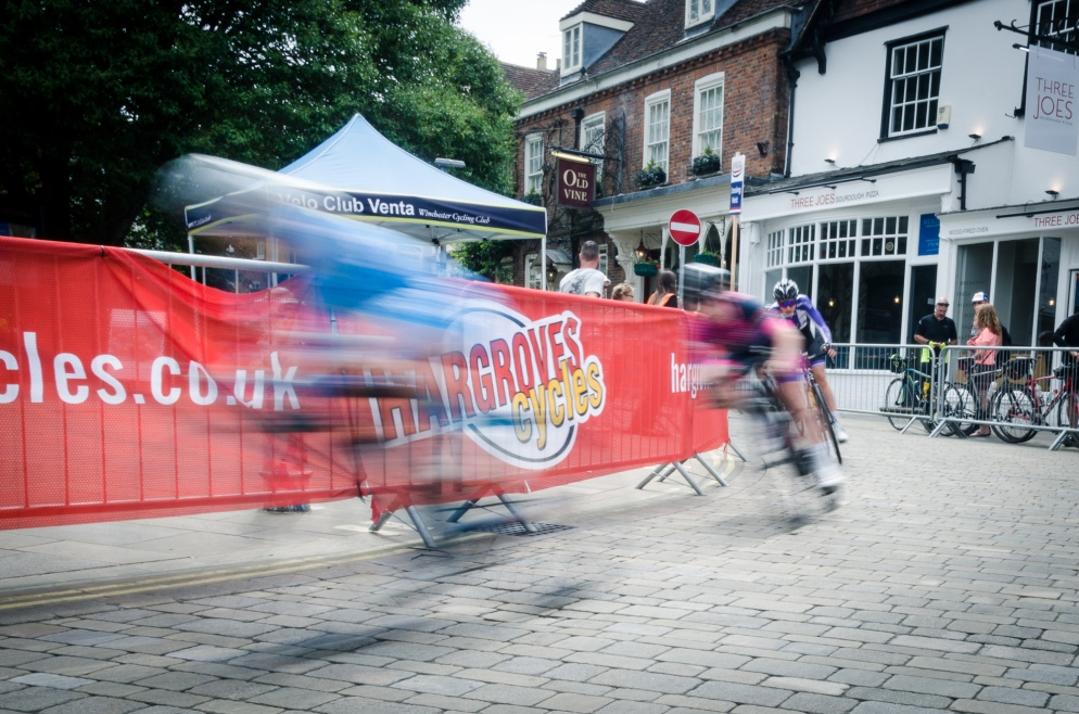 Cycle racing at the Winchester Criterium, Hampshire, UK
