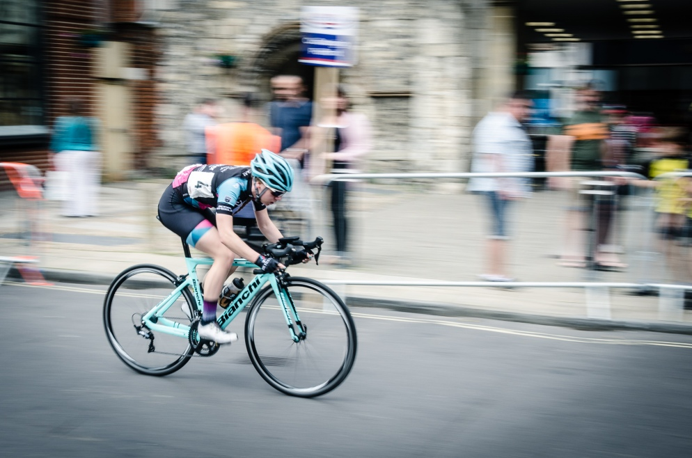 Cyclist at the Winchester Criterium, Hampshire, UK