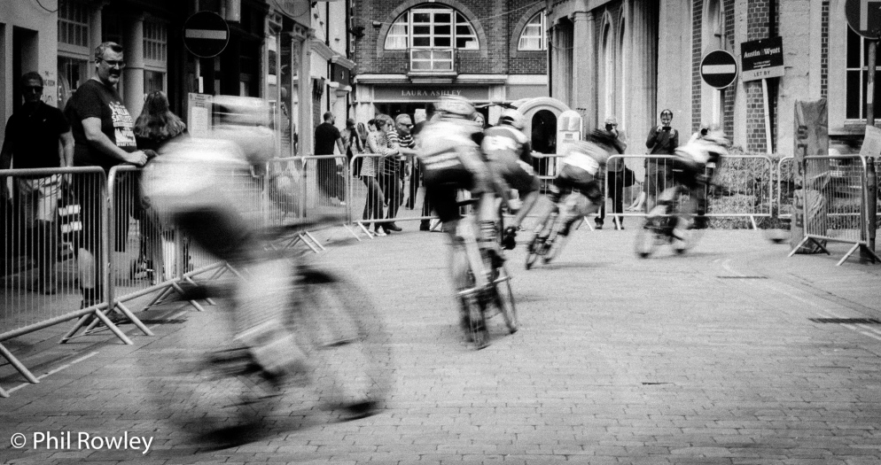 Cyclists competing in the Winchester Criterium, Hampshire, UK, 2018