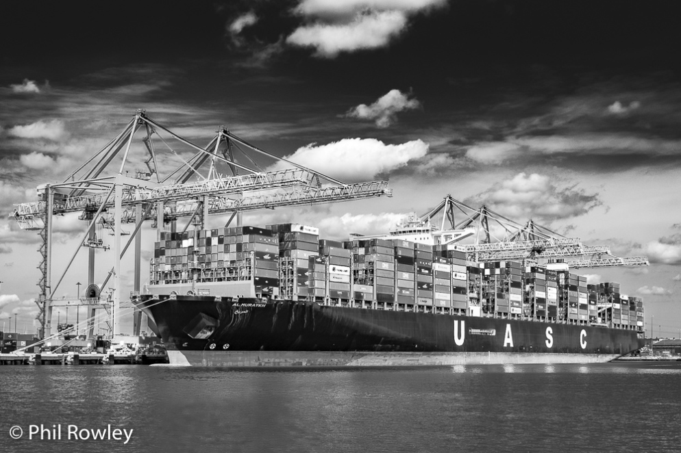 AL MURAYKH container ship at Southampton Docks, Hampshire, UK