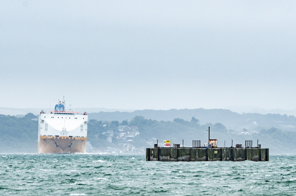 Car Transport Ship Makes a Turn on The Solent, Hampshire, UK